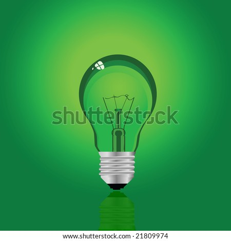 Jpeg illustration of a green incandescent electrical lamp