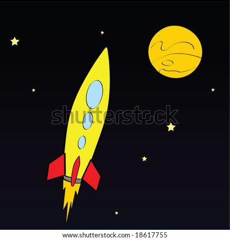 Jpeg illustration of a rocket ship in space - stock photo
