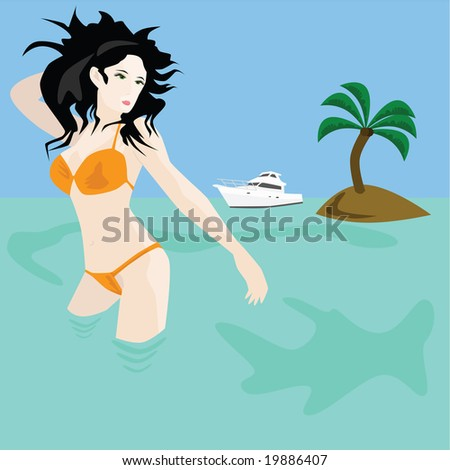 Jpeg illustration of a woman bathing in the sea near a desert island