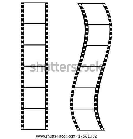 Jpeg illustration of two strips of film: one straight and one curved. For vector version, please see my portfolio. - stock photo