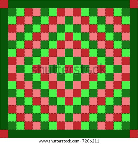 "Jpeg illustration quilt series--christmas ""trip around the world"" quilt. - stock photo"