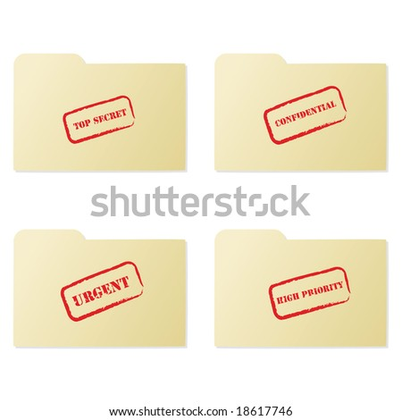 Jpeg illustration set of folders with different messages: top secret, confidential, urgent and high priority - stock photo