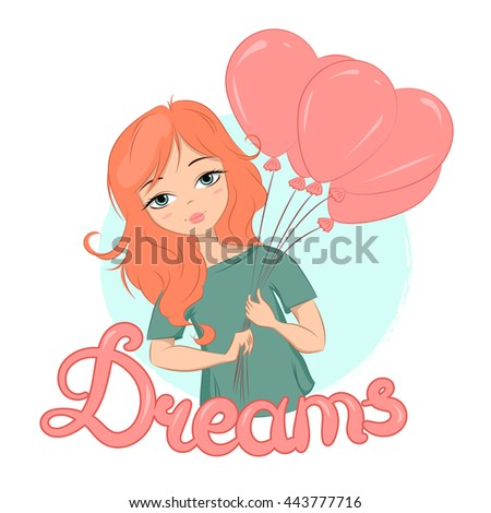 JPEG, JPG illustration of a cute girl with ginger hair holding balloons