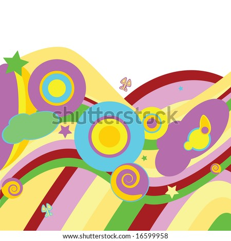 Jpeg psychedelic abstract background with curves, waves, circles, stars and butterflies. For vector version, please see my portfolio. - stock photo
