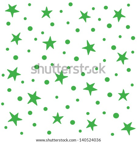 JPEG seamless background pattern with green stars. Good for Christmas, Greeting Cards, Gift Wrap, Scrapbook, Surface Textures. See my portfolio for matching patterns and for vector versions. - stock photo