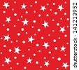 JPEG seamless background pattern with white stars on red. Good for Christmas, Greeting Cards, Gift Wrap, Scrapbook, Surface Textures. See my portfolio for matching patterns and for vector version. - stock photo