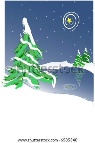 JPEG Snow Covered Christmas Tree By Frozen Lake-Night scene - stock photo