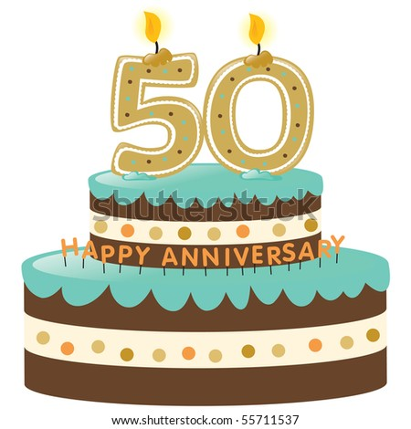 JPEG 50th Anniversary cake w/ numbered candles - stock photo