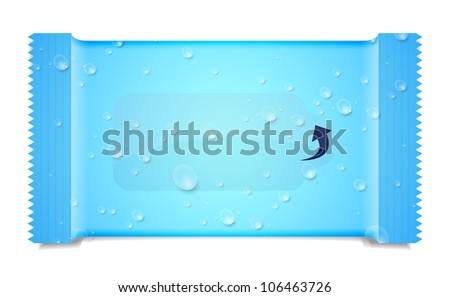 jpeg version. aqua packaging for wet wipes isolated on white - stock photo