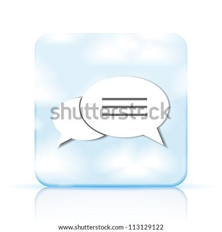 Jpeg version. bubble speech app icon on white background - stock photo