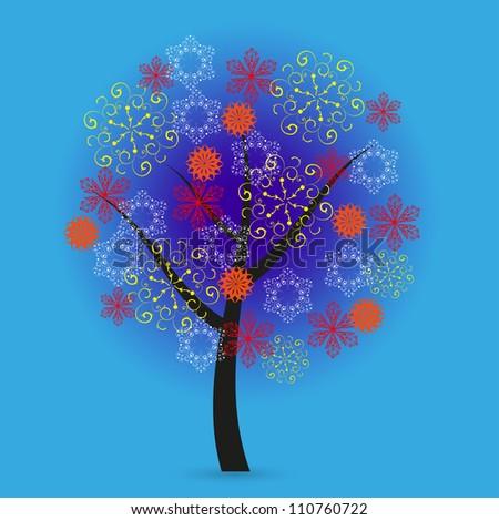 Jpeg version. Creative snowflakes tree on blue background - stock photo