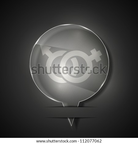 Jpeg version. glass Male and female icon on gray background - stock photo