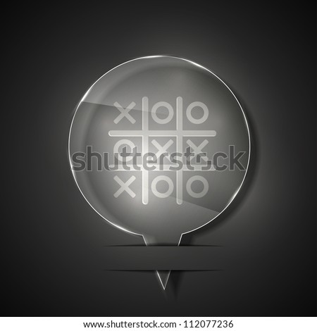 Jpeg version. glass tic tac toe icon on gray background - stock photo