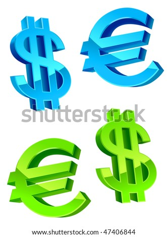 Jpeg version. Glossy currency symbols of USA dollar and euro. Vector  version is also available - stock photo