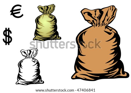 Jpeg version. Money bag in three variations with currency symbols for design. Vector  version is also available - stock photo