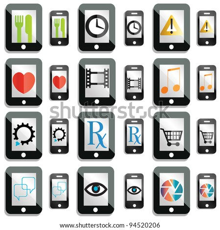 Jpeg version of a set of touchscreen device icons and buttons - stock photo
