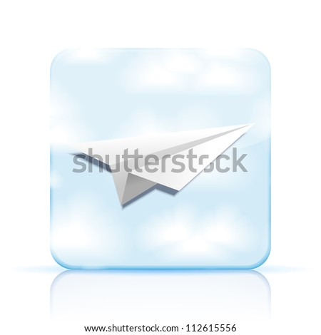 Jpeg version. origami airplane icon on white background - stock photo