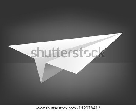 Jpeg version. origami airplane on black background - stock photo