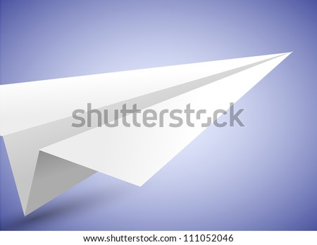 Jpeg version. origami airplane on blue background - stock photo
