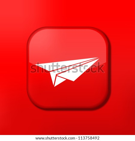 Jpeg version.   red origami plane icon.