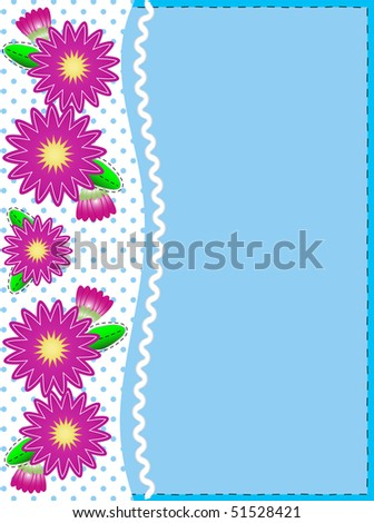 Jpg.   Blue copy space with a side trim of Pink zinnias on top of polka dot background complemented by ric rac and quilting stitch accents. - stock photo