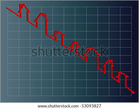 Jpg. Blue housing graph with a downward projection using a red line of little houses. - stock photo