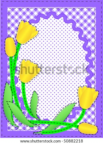 Jpg.  Border with oval copy space, flowers, gingham and dots in purple, white containing quilting stitches. - stock photo