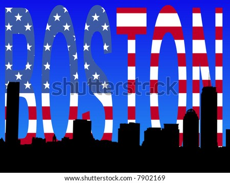 JPG Boston skyline against American flag text illustration - stock photo