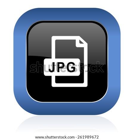 jpg file square glossy icon   - stock photo