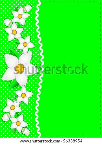 jpg Green copy space with polka dots and ric rac side trim accented by white flowers. - stock photo