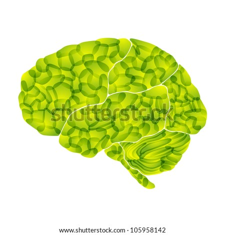 jpg, human brain, light green aura, abstract background - stock photo