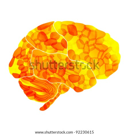 jpg, human brain, solar thoughts, abstract background - stock photo