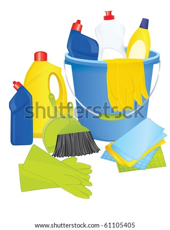 JPG Plastic bucket with cleaning supplies - stock photo
