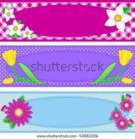 Jpg.  Three borders with oval copy space, flowers, stripes, gingham and dots in pink, purple, blue, yellow, white containing quilting stitches. - stock photo