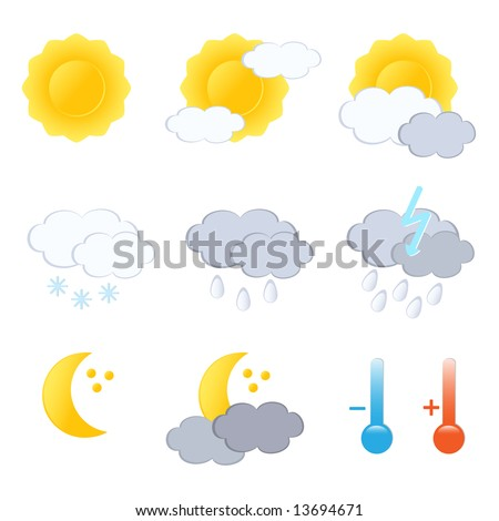 JPG-Version. Weather forecast icon set. Vector-Illustration. - stock photo