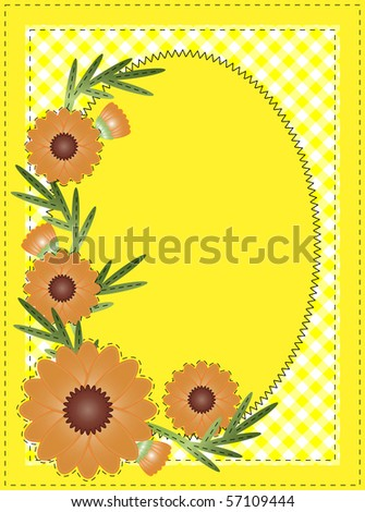 Jpg Yellow oval copy space with gingham and orange flowers border or frame. - stock photo