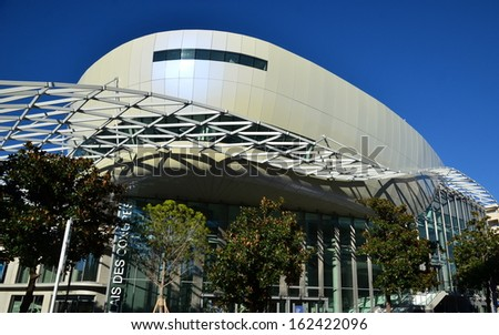 JUAN LES PINS-FRANCE,NOVEMBER 11: New Conference Hall shown on November 11, 2013 in Juan les Pins, French Riviera. In this building is organized the international submarine image festival on December. - stock photo
