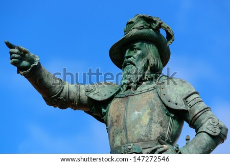 Juan Ponce De Leon statue in old San Juan, Puerto Rico - stock photo