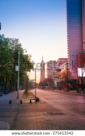 Juarez Avenue in morning sunlight  - stock photo
