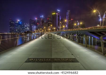 Jubilee Bridge. The Newest Bridge built in the Downtown of Singapore. Date taken 20 December 2015 - stock photo
