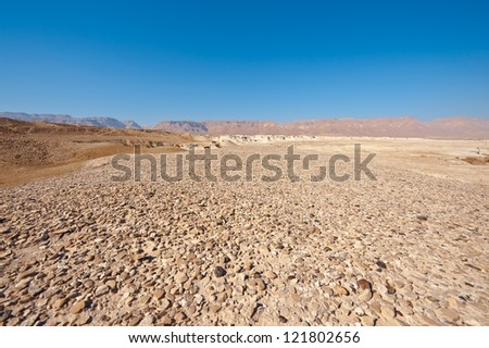 Judean Desert on the West Bank of the Jordan River - stock photo