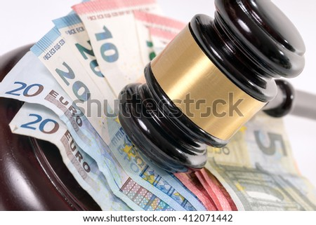 judge gavel and euro banknotes / Law - stock photo