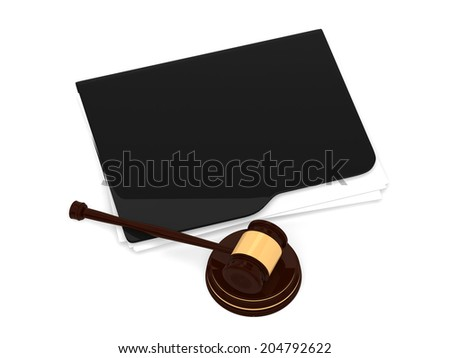 Judge gavel and grey folder - LAW concept - 3d rendering - stock photo