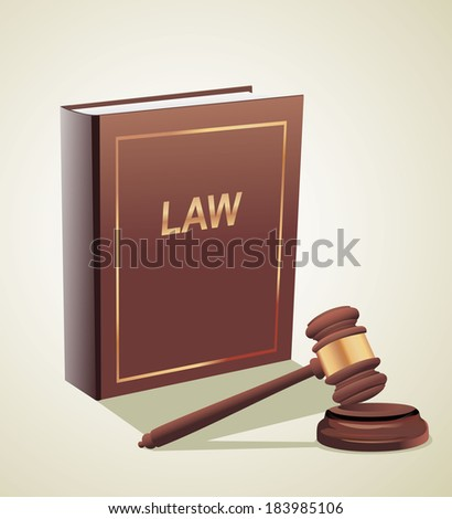 Judge gavel and law book.