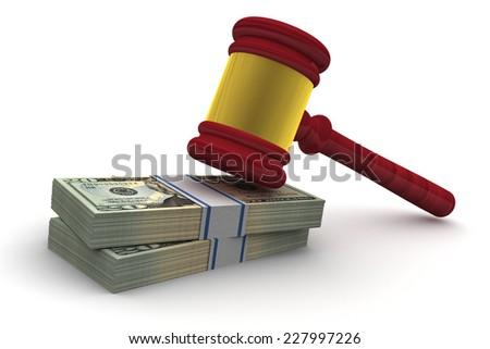Judge Gavel and money isolated on white background - stock photo