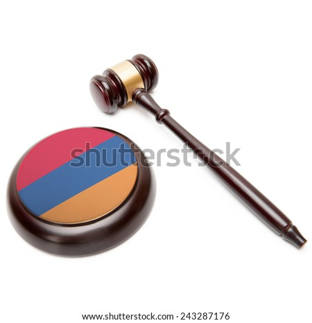 Judge gavel and soundboard with national flag on it - Armenia - stock photo