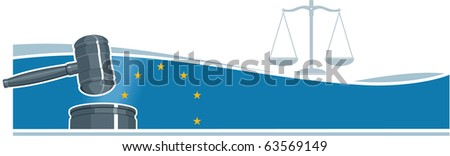 Judge Gavel (Hammer) on European Union Flag Background - stock photo