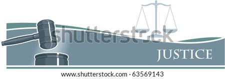 Judge Gavel (Hammer) on Silver Banner Background - stock photo