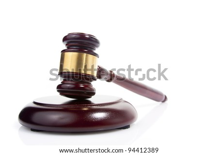 judge gavel isolated on white - stock photo