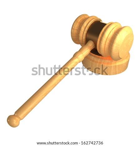 Judge gavel. Isolated. white background. 3d - stock photo
